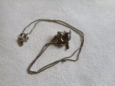 Vintage pool of light quartz Rock Crystal boll sterling frog pendant on chain