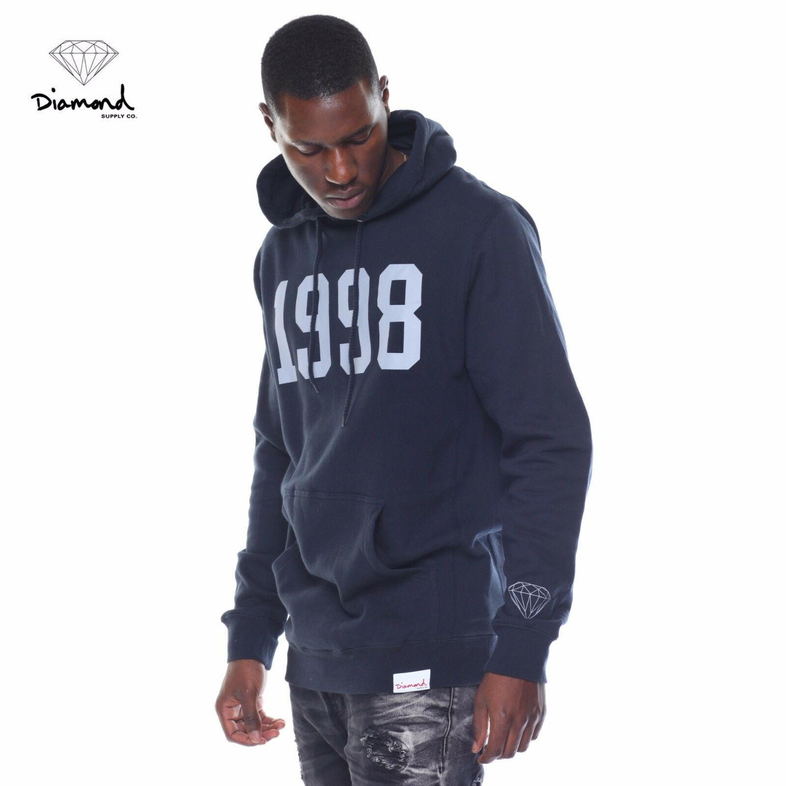 Diamond Supply Co Since 1998 Pullover Hoodie Navy L NWT NEW 85  Skate Snow