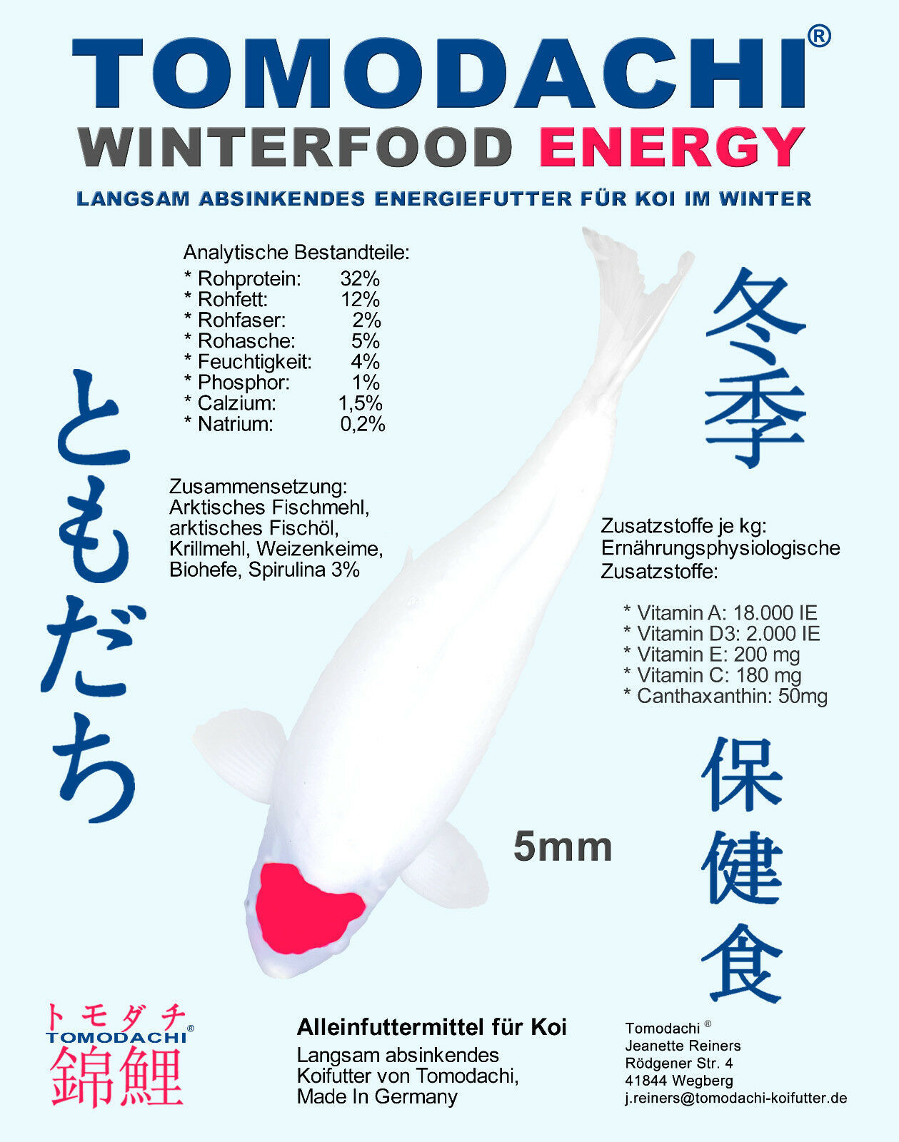 FODERA INVERNALE Koi, sinkfutter, mangime energetico, koifutter INVERNOenergia 5mm 15kg