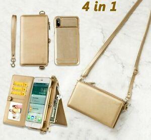 Women Wallet Bag Case Leather Detachable Phone Cover Shoulder Handbag For iPhone