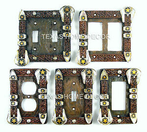 Western Cowboy Theme Decorative Outlet Covers Switch Plates Pistols Rope Stars