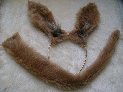 Zoo Animal Fancy Dress Ears /& Tail Kangaroo Set Light Brown Faux Fur Dress Up
