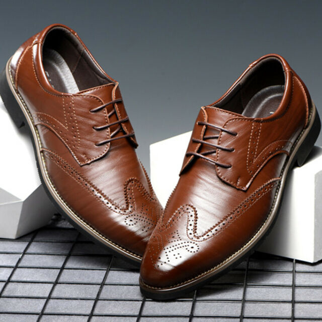 Leather Dress Shoes Men Casual Lace Up Oxfords Pointed Toe Business Formal Work