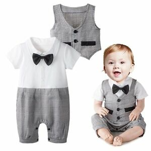 a29dd89881c9 Baby Boy Wedding Christening Formal Party Tuxedo Suit Outfit+Vest ...