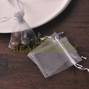 100pcs-16x11cm-Organza-Wedding-Party-Decoration-Gift-Candy-Sheer-Bags-Gray