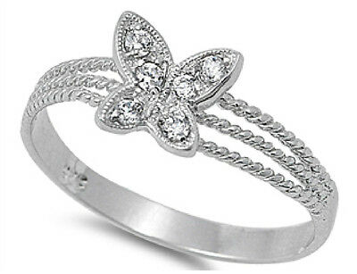 Sterling Silver 925 Pretty Cute Butterfly Design Clear CZ Ring Sizes 4 -10