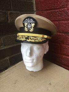 72d5ca04f8b Image is loading WW2-US-Navy-officers-Admirals-visor-cap-size-
