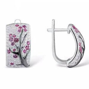 925-Silver-Fine-Ruby-Flower-Plum-Blossom-Stud-Ear-Hoop-Earrings-Women-Jewelry