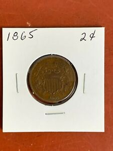 1865 Two Cent Piece 2C FULL MOTTO Civil War Era  Nice Looking Coin