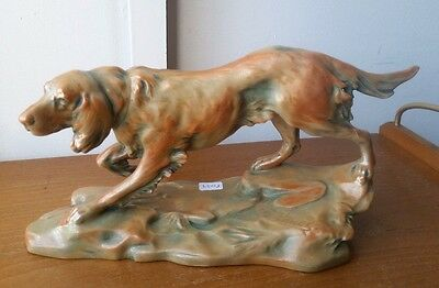 Majolica DOG by Bernhard Bloch,Signed Th. Schoop luster art nouveau ceramic