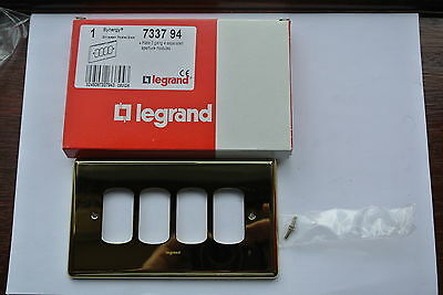 legrand Synergy 7337 94 Grid Plate 2 Gang 4 separated apertures polished brass