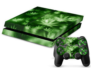 SONY-PS4-PlayStation-4-SKIN-Design-Adesivo-Pellicola-Protettiva-Set-CANNABIS-4