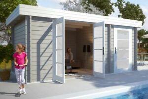 Details zu Gartenhaus Modern-E Holz 470x320 cm Flachdach Blockhaus  Gerätehaus Laube