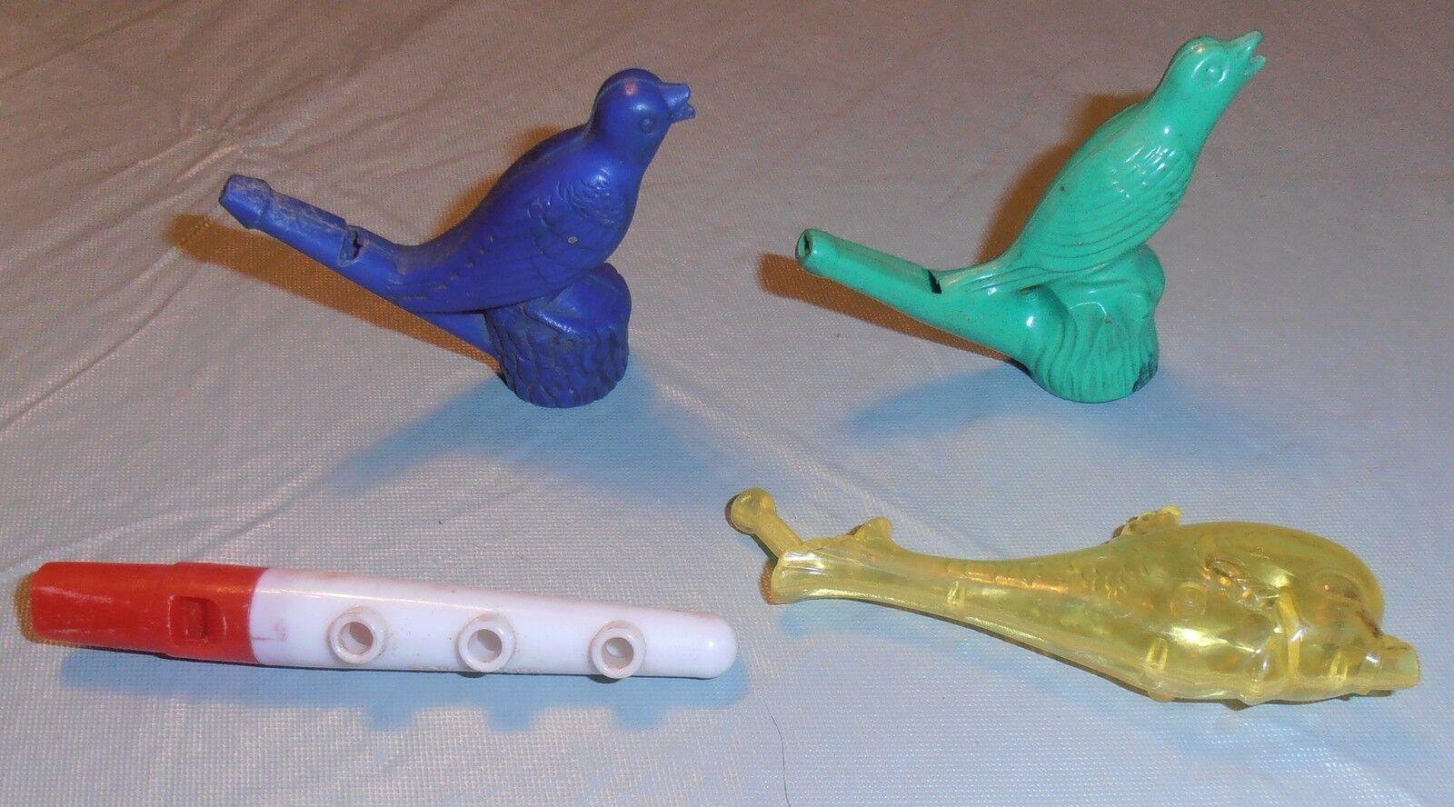 4 VINTAGE TOY PLASTIC WHISTLE LOT 2 BIRD FISH FLUTE BOY BUGLER