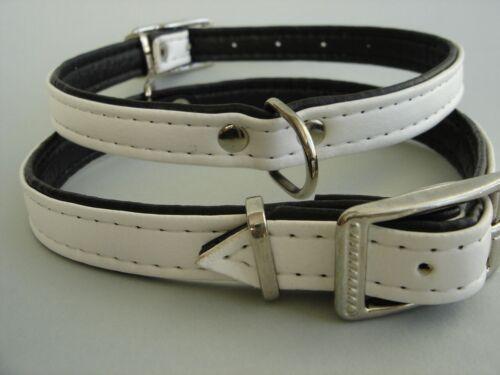 cuello alcance 29-36cm//15mm EKO-cuero Collar-cuello para perro banda blanco//negro