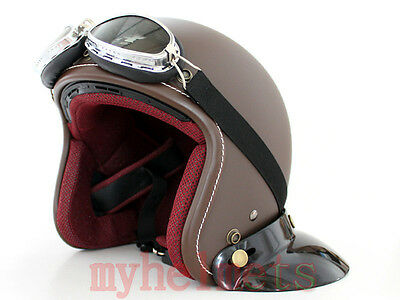 M2R Matte Cafe Open Face Motorcycle/Scooter Helmet with Goggles (307)