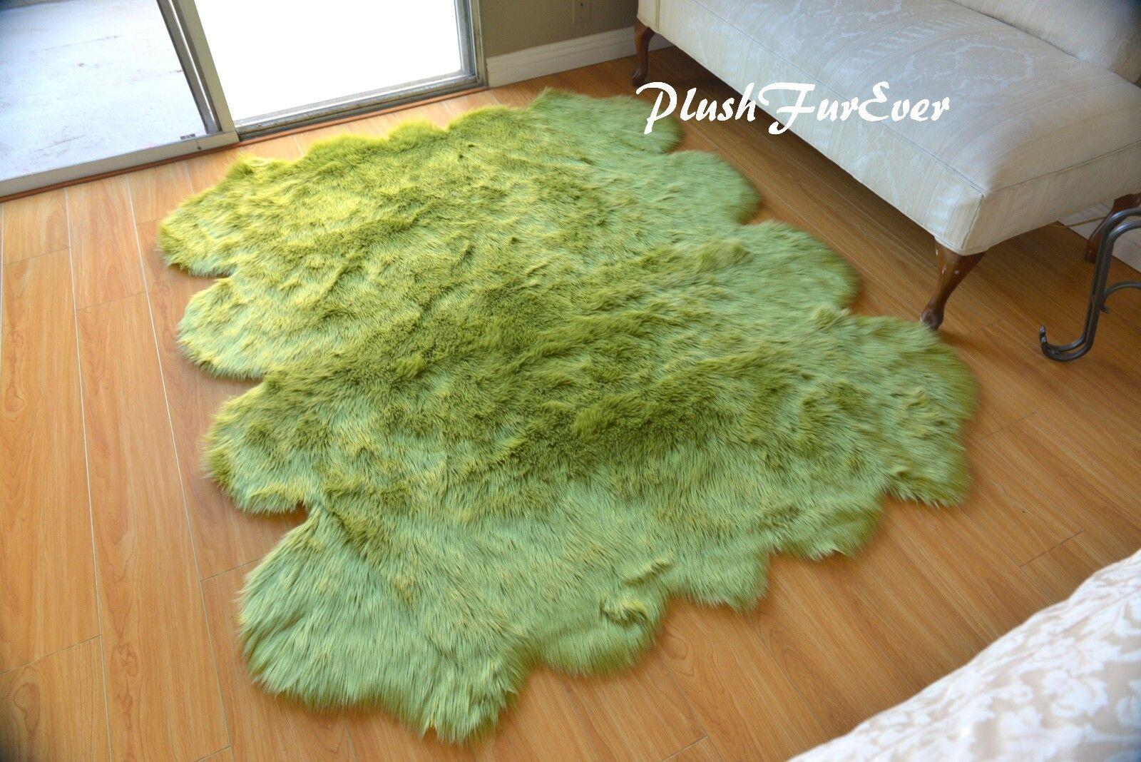 60  x 72  Olive Grün Sheepskin Area Rug Acrylics Polyester Imitate Accents Rugs