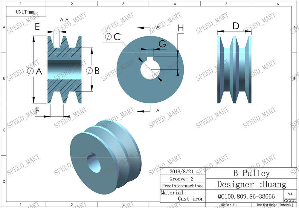 B Type Pulley Double V Groove Bore 24mm OD 90mm for B Belt Motor