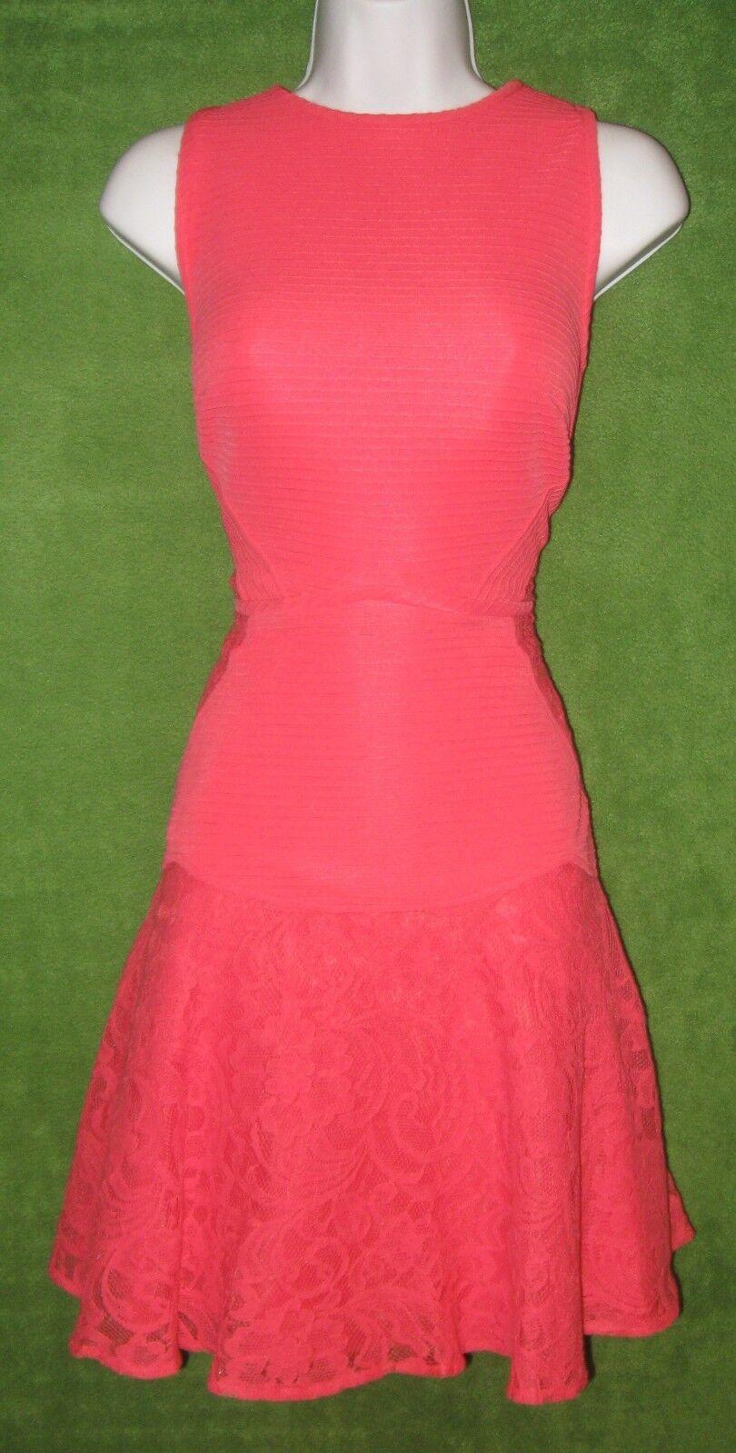 Julia Julia Julia Jordan Bright Melon Ribbed Knit Cotton Lace Social Dress 4  160 MISC 8124f0