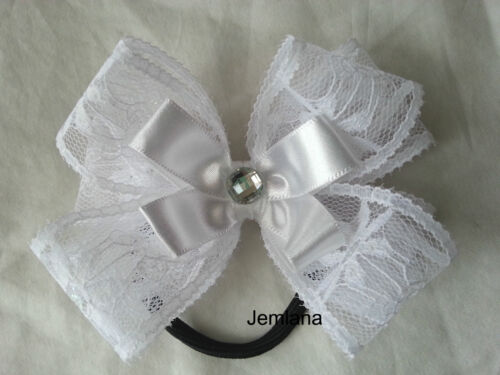 Jemlana/'s handmade double lace bows hair tie,clip for girls...