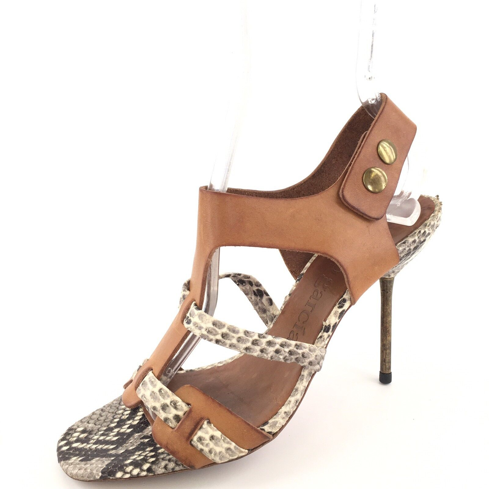 Pedro Garcia Maddy Brown Leather Python Print Open Toe Sandals Womens Size 38 M