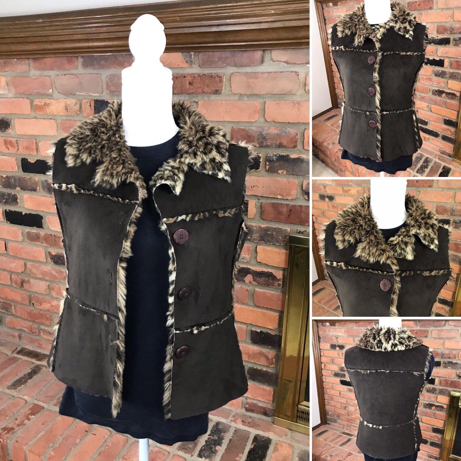 True Grit HIGH PLAINS VEST Mocha Suede   Leopard Fur   Button Front  Women's S
