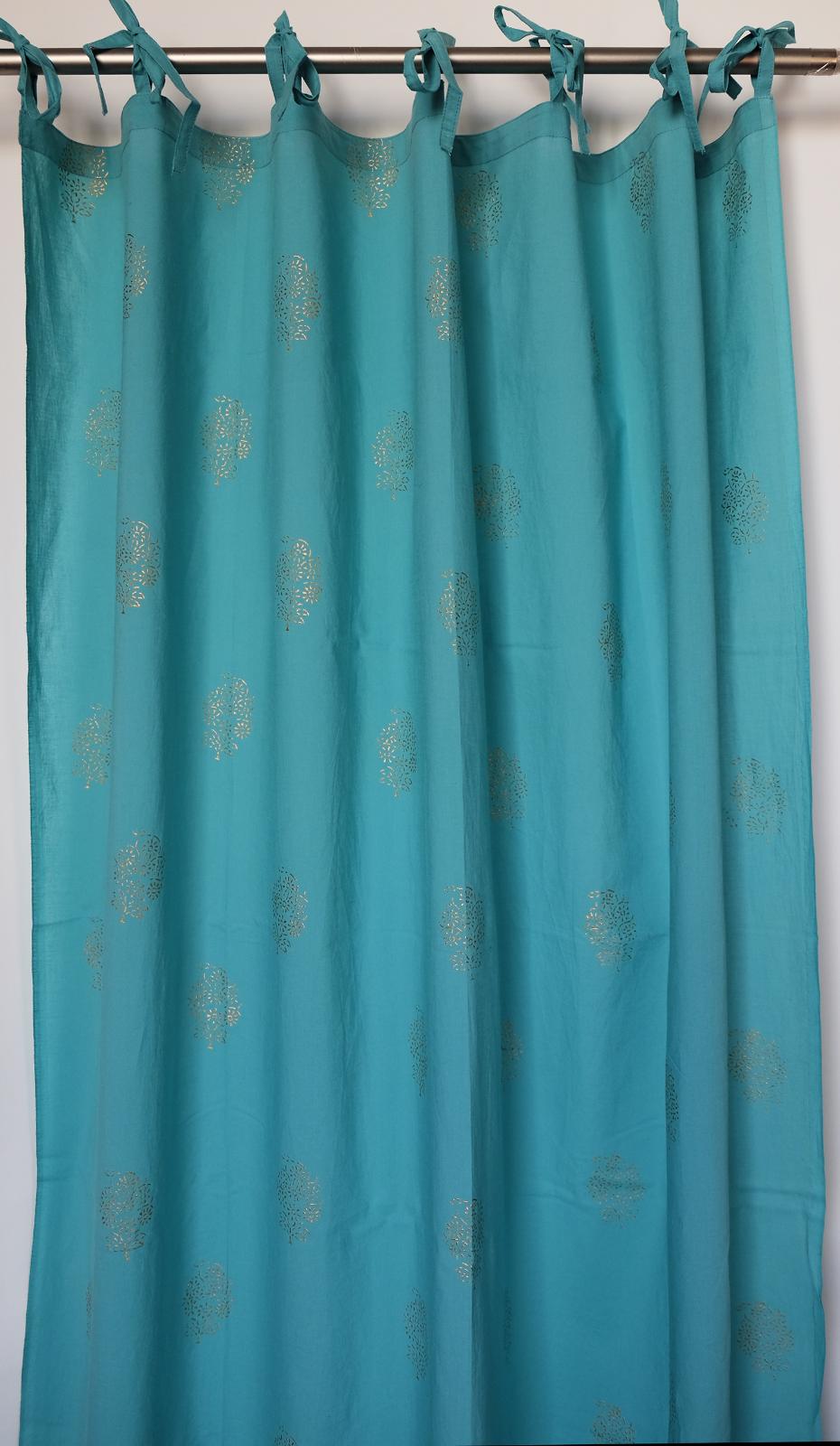 Anokhi Tendine con Top Legacci - Blu con Stampa oro Motivo - 100% Cotton