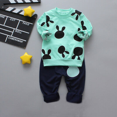 2pcs Cute Baby Boys Cotton Clothes Outfit Tops Shirt Trousers Tracksuit