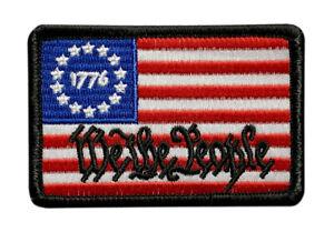 Betsy Ross Flag Black /& White Patch W// VELCRO® Brand Fastener White Border