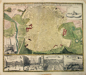 Details about 1730 Homann City Plan or Map of Madrid, Spain - ORIGINAL