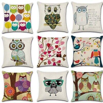 Vintage Cartoon Owl Cotton Linen Pillow Case Sofa Throw Cushion Cover Home Decor Ebay