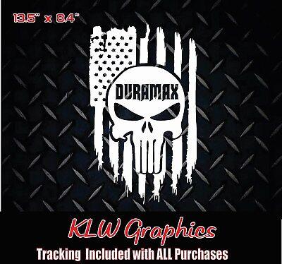 Duramax Diesel Truck 1500 2500 American Flag vinyl sticker Decal Skull line