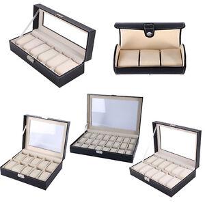 3/6/10/12/24 Slot Jewelry Wrist Watch Display Case Box Storage Holder Organizer