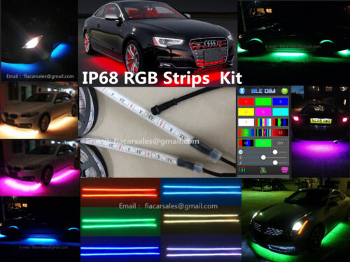 IP68 4FT//6.5FT single row RGB Color Bluetooth Underglow Grill LED Strips Lights