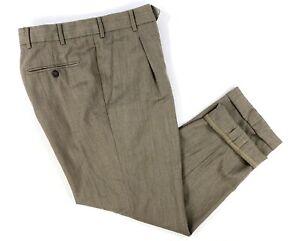 Ermenegildo-Zegna-Men-s-Size-33-x-28-Brown-Wool-Pleated-Front-Cuffed-Dress-Pants
