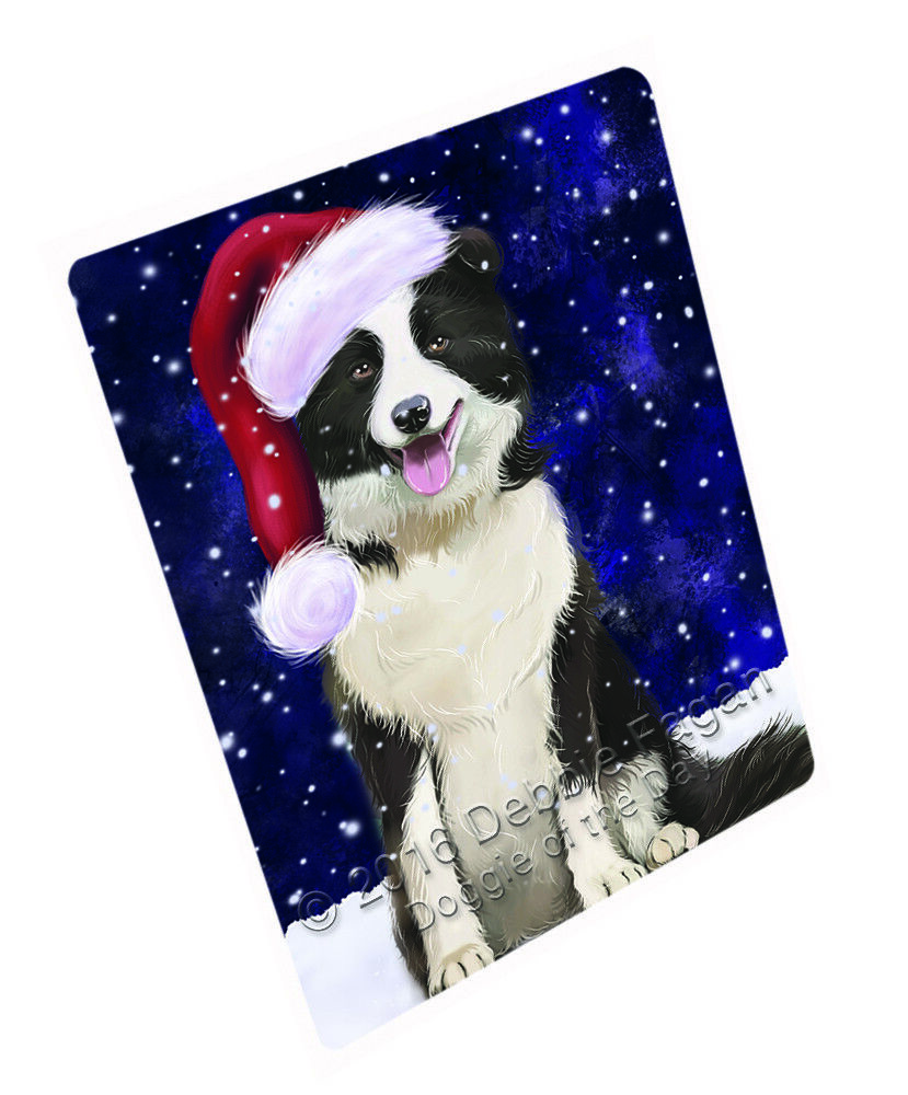 Let it Snow Christmas Holiday Border Collie Dog Woven Throw Sherpa Blanket T127