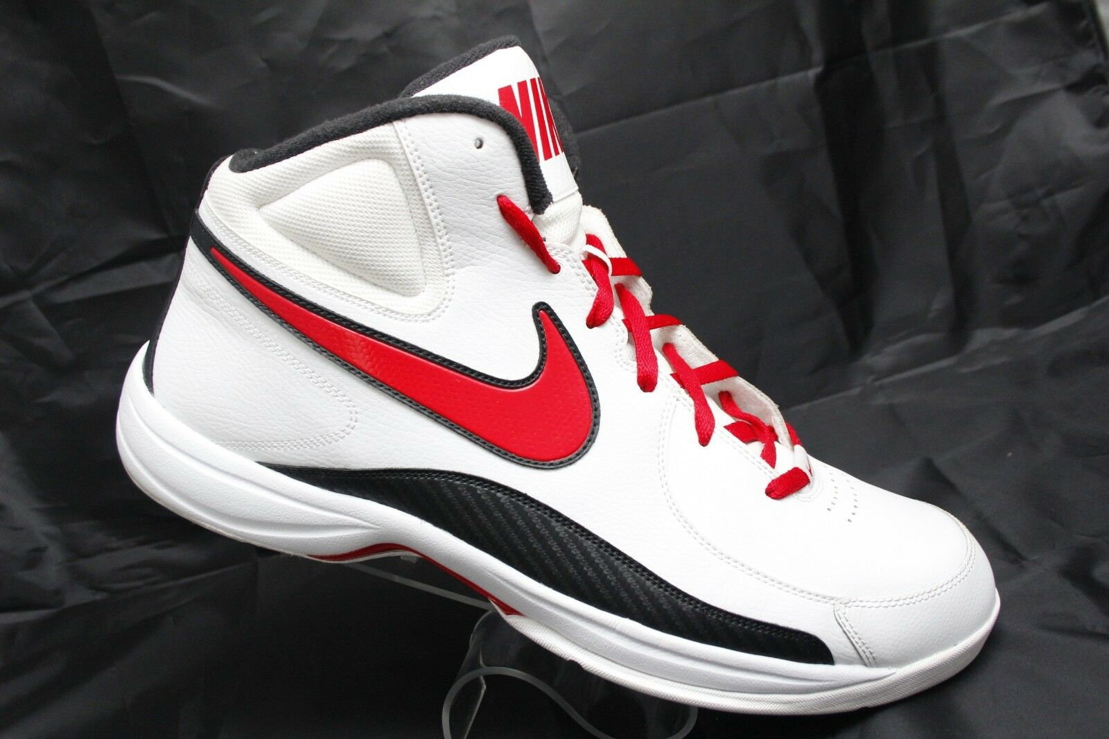 Nike The Overplay VII Mens Sz 17 White Red Black Basketball Sneakers 511372-103