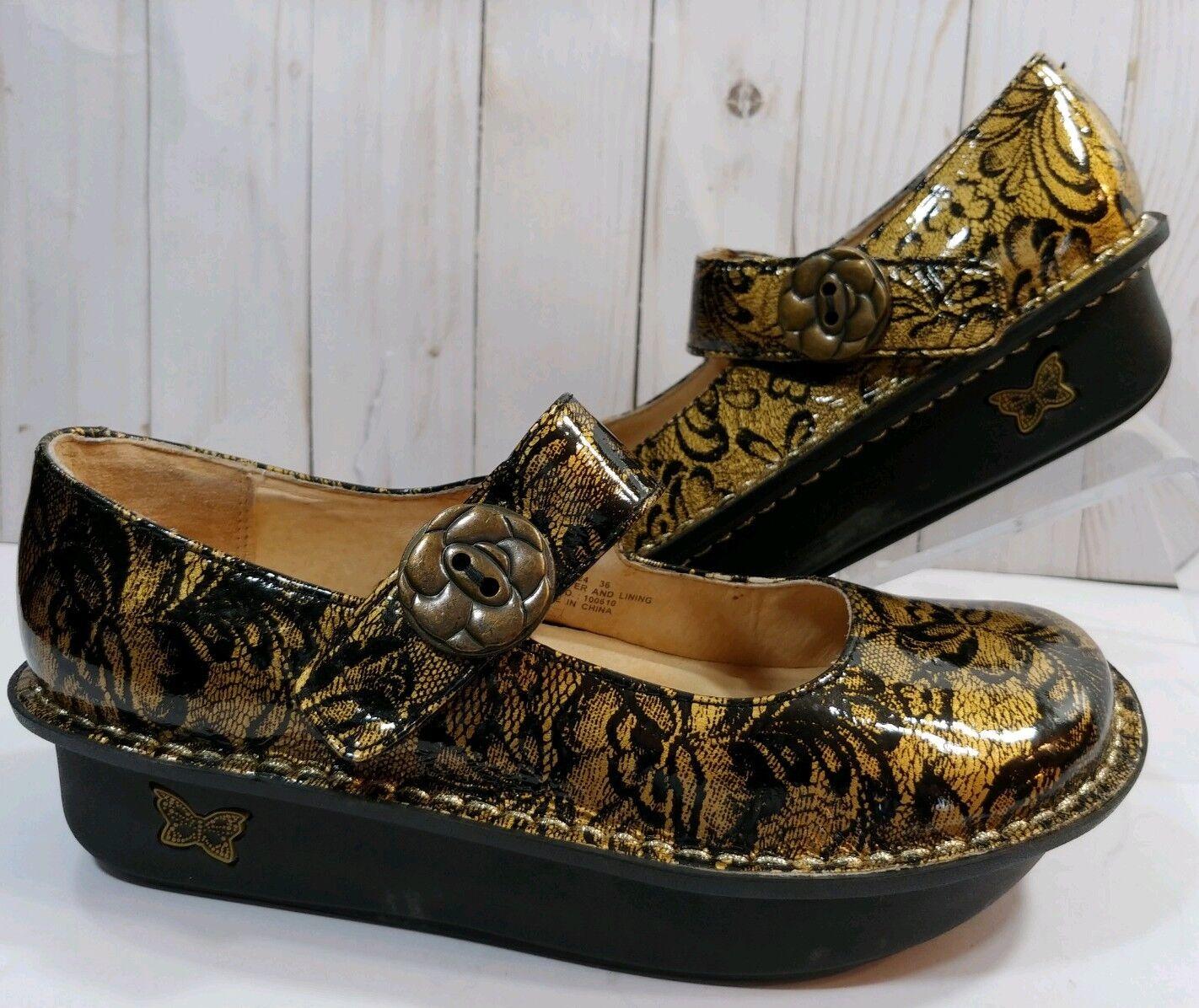 Alegria Paloma Or Dentelle noir Cuir Mary Jane chaussures Prof infirmière EU36 US 6-6.5
