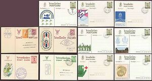 THAILAND SIAM POSTAL STATIONERY USED + ILLUSTRATED 11 DIFFERENT