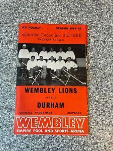 Wembley Empire Pool - Wembley Lions - Ice Hockey Programme 03/12/1966