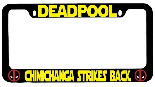 Black METAL Deadpool Chimichanga Strikes Back License Plate Frame Auto Accessory