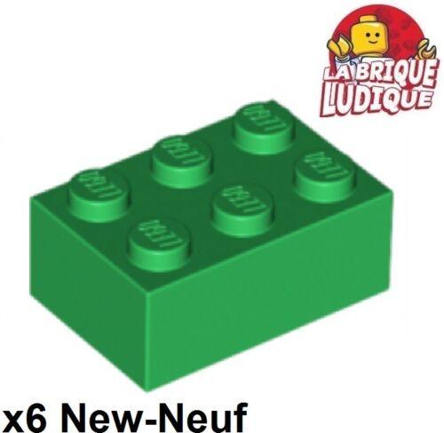 6x Brique Brick 2x3 3x2 vert//green 3002 NEUF Lego
