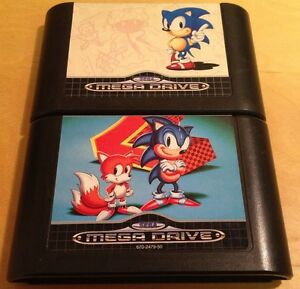 SONIC-THE-HEDGEHOG-1-amp-2-for-SEGA-MEGA-DRIVE-cartridges-only-WITH-FREE-UK-P-amp-P