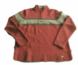 Woolrich-Womens-Fair-Isle-Nordic-100-Lambs-Wool-1-4-Zip-Sweater-Size-Medium