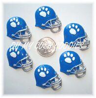 6pc White Paw Print Royal Blue Football Helmet Flatback Resins 4 Hairbow Bow