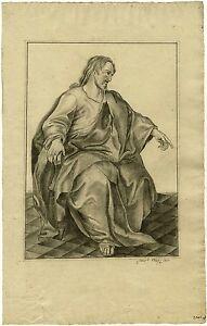 Bleistiftzeichnung, Jesus Christus, signiert Oegg, 1800