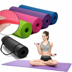 Hot-Extra-Thick-Exercise-Yoga-Mat-Pilates-Gym-Fitness-NBR-72-034-x-24-034-10MM-w-Strap