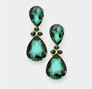 "1.25"" Green Emerald Gold Long Teardrop Crystal Pageant Bridal Earrings Formal"