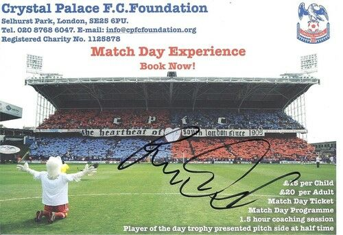 A Crystal Palace F. C. Foundation card signed on 17.09.11 by Mile Jedinac