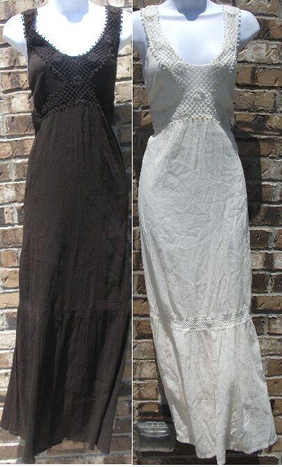 NWT STYLE & CO cream or brown sleeveless crochet beach casual dress, size PL,XL